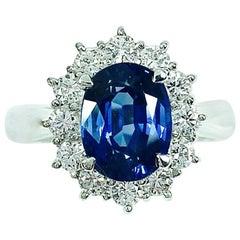 GIA No Heat 2.59 Carat Sapphire Platinum Diamond Ring