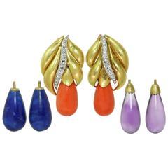David Webb Coral Amethyst Lapis Diamond Gold Platinum Interchangeable Earrings