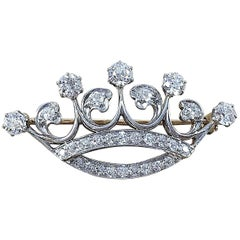 Antique Platinum and Gold Diamond Crown Pin