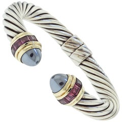 David Yurman Hematite and Garnet Cable Bracelet