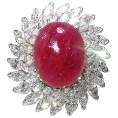 Natural Unheated Burma Ruby and Diamond Platinum Ring Pendant
