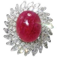Natural Unheated Burma Ruby and Diamond Platinum Ring Pendant