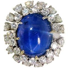 Ceylon Star Sapphire and Diamond Ring