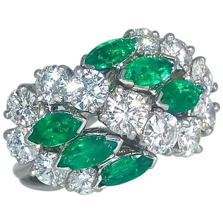 Cartier Diamond Emerald Ring For Sale