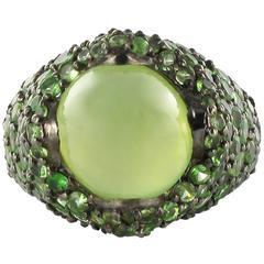 Modernist Prehnite and Tsavorite Garnet Silver Dome Ring