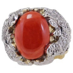Coral Diamond Signet Gold Ring