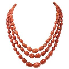 Luise Diamond and Garnet Clasp Three and Three Strands Coral Necklace