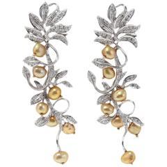 Luise Diamond Gold Pearl Earrings