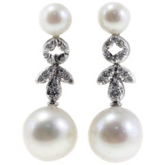 Australian Pearl and Diamond Dangle Gold Earrings