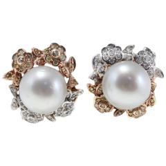 Luise Diamond and Fancy Diamond Australian Pearl Earrings