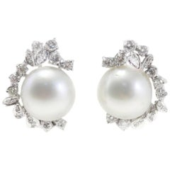 Luise Australian Pearl and Diamond Earrings