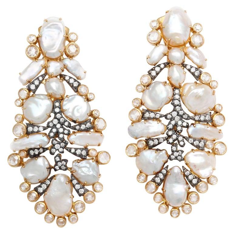 "Dramatic Marilyn Cooperman Keshi Pearl and Diamond ""Feather"" Earclips"