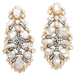 "Dramatic Marilyn Cooperman Keshi Pearl and Diamond ""Feather"" Earclips"