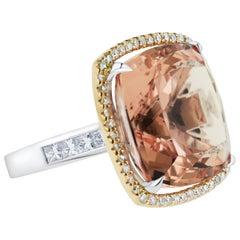 Exclusive 28.49 Carat Pink Morganite Diamond Cocktail Ring