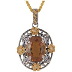 Emma Chapman Honey Topaz Diamond Yellow Gold Silver  Pendant