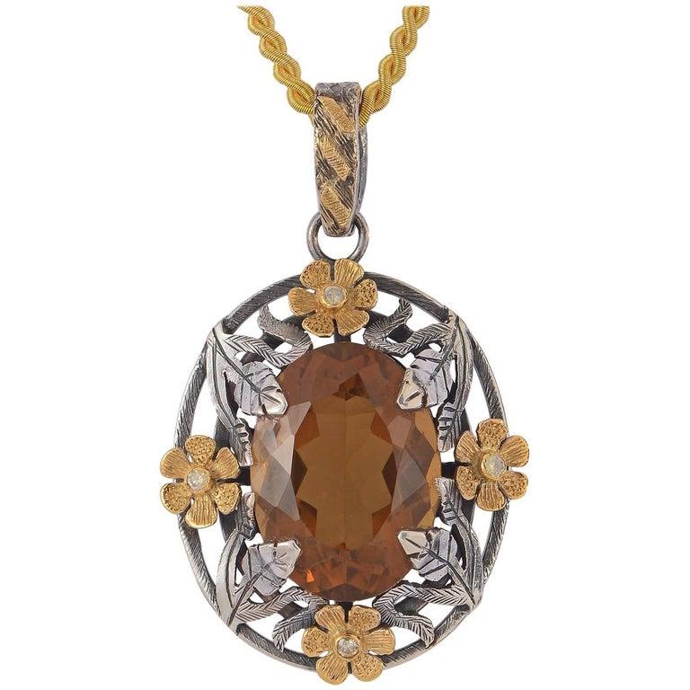 Emma Chapman Honey Topaz Diamond Yellow Gold Silver  Pendant