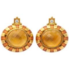 Elizabeth Gage Citrine Earrings
