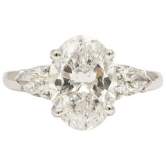 Platinum Oval Diamond Ring 3.25 Carat