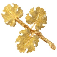 Gold Geranium Leaf Brooch