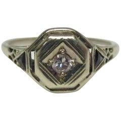 Art Deco Diamond Sapphire Filigree Gold Ring