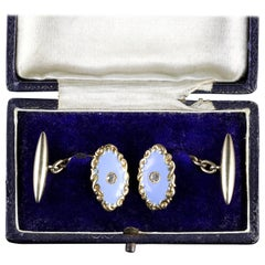 Antique Victorian Gold Enamel Diamond Cufflinks Boxed, circa 1880