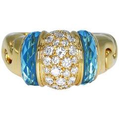 Bulgari Diamond and Aquamarine Ring