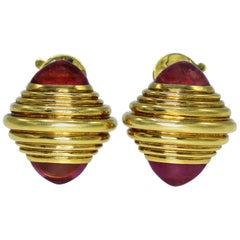 Boucheron Pink Tourmaline and Gold Earclips