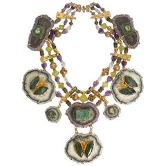 Tony Duquette Extraordinary Amethyst Quartz Nephrite Necklace