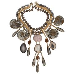 Tony Duquette Extraordinary Fossil Agate Citrine Necklace