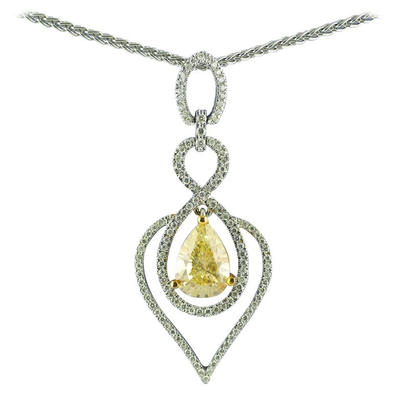 Certified Fancy Yellow Diamond 2.03 Carat Pendant, circa 1970