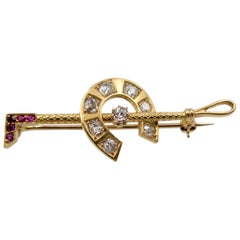 Antique Gold Diamond Ruby Horseshoe Riding Crop Brooch