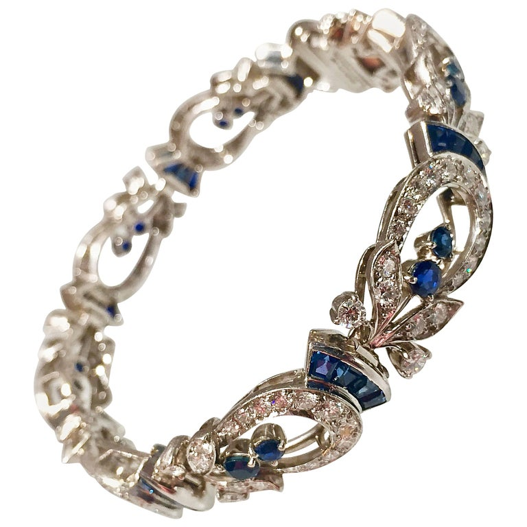 Tiffany & Co. Diamond and Sapphire Platinum Art Deco Bracelet 1