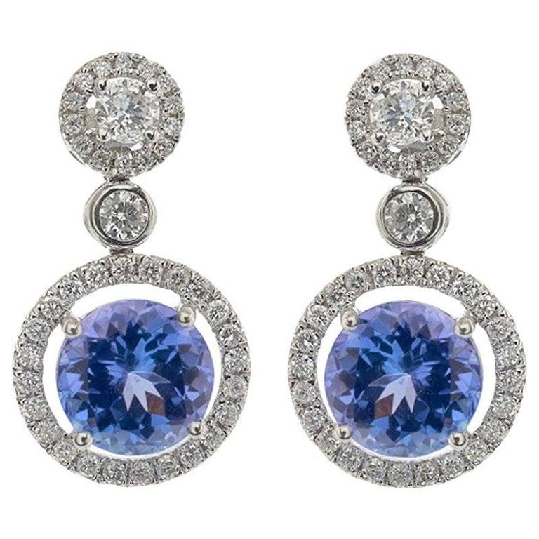 Tanzanite Diamond Drop Earrings
