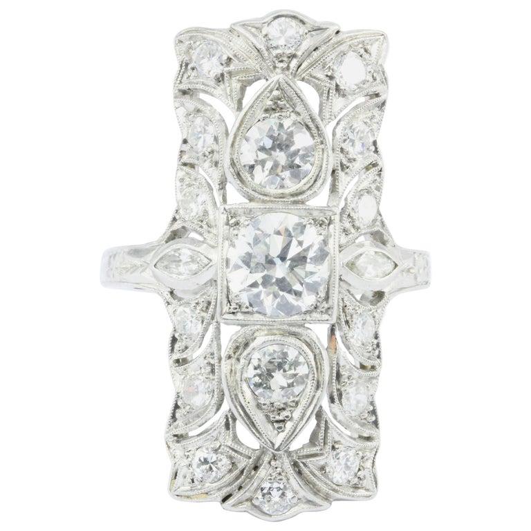 Art Deco Platinum Three-Stone Old European Diamond Shield Ring