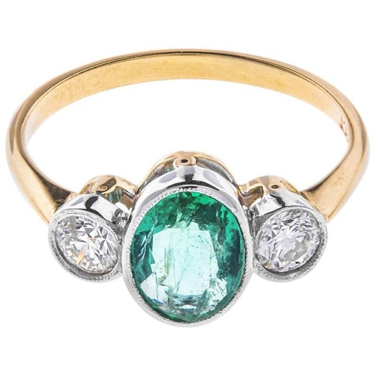 1 10 carat emerald and trilogy ring at 1stdibs