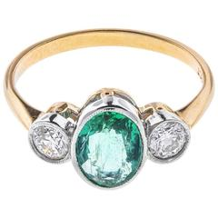 1.10 Carat Emerald and Diamond Trilogy Ring