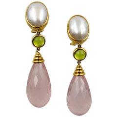 Visconti di Madrone 18 Karat Gold Pearl Peridot Rose Quartz Earrings