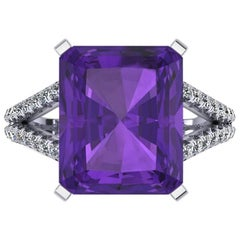 Ferrucci Amethyst  Diamond Handmade Cocktail Ring