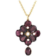 Antique Gold, Garnet and Pearl Pendant