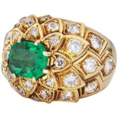 Rene Boivin Diamond Emerald Gold Ring