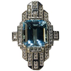 Geometric Aquamarine Diamond Platinum Ring