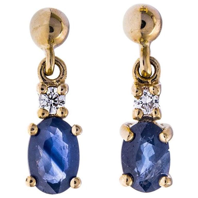 9 Carat Gold 1.00 Carat Sapphire and Diamond Drop Earrings