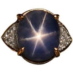 Burmese Star Sapphire Diamond Ring