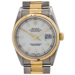 Rolex Yellow Gold Stainless Steel Datejust Ref 16203 Wristwatch, circa 1998