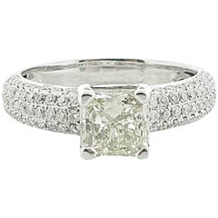 1.51 Carat Princess Cut Diamond Engagement Ring