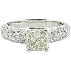 1.51 Carat Princess Cut Diamond Engagement Ring