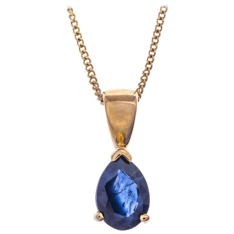 9 Carat Gold 0.85 Carat Sapphire Solitaire Pendant