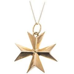 Vintage Solid Gold Maltese Cross Pendant