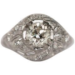 1930s Art Deco Platinum 1.02 Carat Old European Cut Diamond Engagement Ring