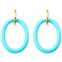 Faraone Mennella Turquoise Ceramic Gold Mama Earrings